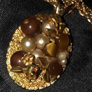 Vintage Gold Tone Floral Pendant